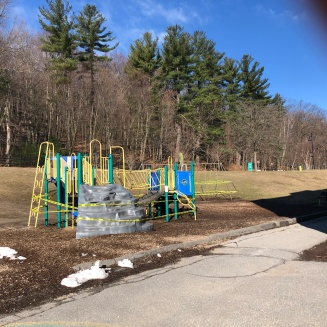 Shuttered playground at McKay School, FItchburg MA